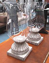 HURRICANE LAMPS, a pair, circular glass bowls on t