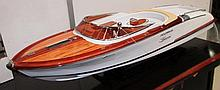 MODEL BOAT, Riva Aquariva style on stand, 90cm L x