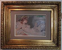 GEMIN, 'Reclining Nude', oil on board, 30cm x 43cm
