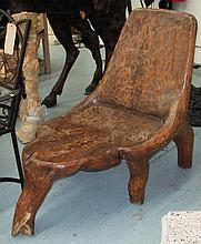 CONSERVATION SEAT, hand carved on rounded supports