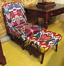 CHAIR AND STOOL, 20th century in buttoned Ikat uph
