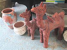 TERRACOTTA CAMELS, two various, and two pots. (4)