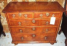 CHEST, William and Mary figured walnut of small pr