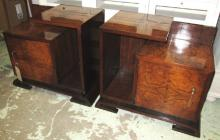 BEDSIDE CABINETS, a pair, Art Deco burr walnut each with ceramic lined cabi