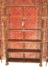 OPEN BOOKCASE, early 20th century beechwood with bobbin turned support and