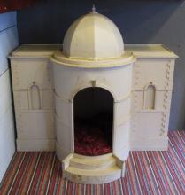 PUG'S PALACE' DOG BED, painted in the form of a neoclassical building, 97cm