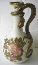 ROYAL WORCESTER EWER, the handle in the form of a gilt dragon, 29.5cm H.