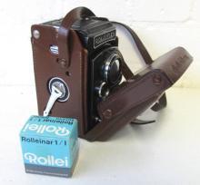 VINTAGE ROLLEIFLEX CAMERA, twin tessar lens 1:3,5 f=75mm, in original leath