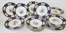 ROYAL WORCESTER PART DESSERT SERVICE, c.1900, finely painted with birds and