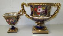 ROYAL WORCESTER FLIGHT BARR AND BARR PEDESTAL VASES, two similar, early 19t