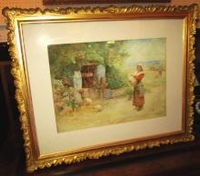 JOHN PARKER, 'Brittany Well', watercolour, 30cm x 42cm, signed, dated and f