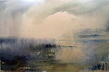 LESLIE WORTH, (1923-2009) 'Landscape' watercolour, signed, framed.