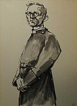 SIR KYFFIN WILLIAMS RA (Welsh, 1918-2006), 'Portrait of a Clergyman', ink,