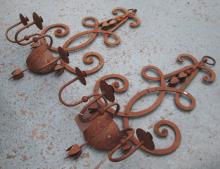 WALL SCONCES, a pair, three branch, in metal rustic finish, 100cm H. (2)