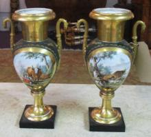 VASES, a pair, 19th century porcelain painted with a farmyard scene having