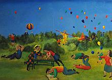 HARRY BILSON (b. 1948), 'Balloons', oil on canvas, 88cm x 120cm, signed and
