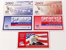 (5) U.S. Mint Uncirculated Coin Set, 2001-03