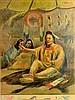Chromo, N. Plains Indians in teepee, E.W. Deming