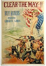 WWI Clear The Way, Buy Bonds,4th Loan, Christy