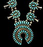 Necklace, Squash Blossom, Navajo, Turquoise