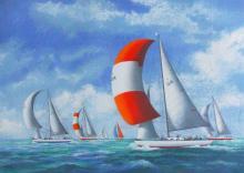 Lithograph, Sloop Yacht Race, Alex Packham