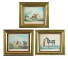 Chromolithographs, 3 pcs, Hand-painted, Fox Hunt