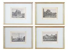 Lithographs, 4 pcs, French, Architecture