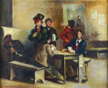 O/C Tavern Scene, C. 1880, 'Temperance'