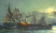 O/C, Ships in Moonlight, William Thornley
