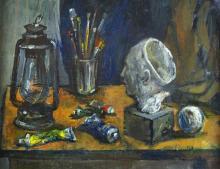 O/C Still Life w/Artist's Brushes, Dobrinsky, '48