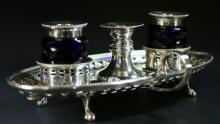 (2) English Silver-Plated, Footed Inkwell Stands