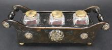 Inkwell Caddy, Mahogany w/ Drawer, 19th C.