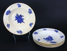 Bowls, 5 Pieces, White and Blue, Mintons, 20th C.