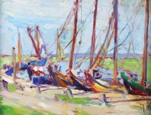 O/P Boats at Dock, Emily Waite Estate