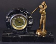 Golf Clock, Marble, Bronze Golfer, C. 1920