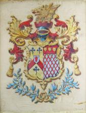 Coat of Arms, Paint on Silk, European, Ulster