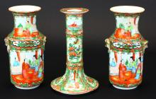 Vases, Pair and One Candlestick, Famille Verte