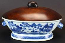 Chinese Export Tureen, Custom Wood Cover, Canton