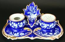 Porcelain Inkwell Desk Set, German KPM