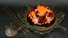 French Cameo Glass Chandelier, Signed