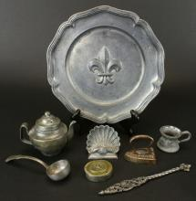 Pewter, 8 pcs, c.1800's & 1950's