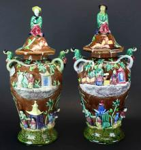 Majolica Pair, Covered Figural Vases, C.1820
