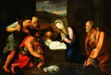 O/C Nativity Scene, Follower Guido Reni, 17th C