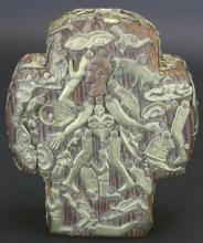 Mexican Milagros Cross on Carved Wood and Tin