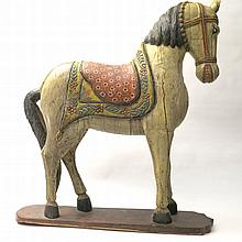CAVALLO IN LEGNO POLICROMOcm 100x95A CARVED AND PAINTED WOOD FIGURE OF AN
