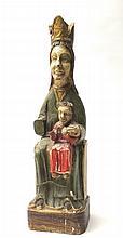 ANTICA STATUA IN LEGNO POLICROMOraffigurante 'Madonna con Bambino'cm 56A