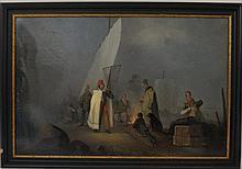 HORACE VERNET(French,1789-1863)Attribuzione'Figure al porto'olio su papie