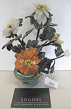 Cloisonne pot with hardstone flowers