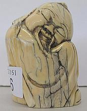 Chinese ivory figure of a sleeping Scholar 8cms ht