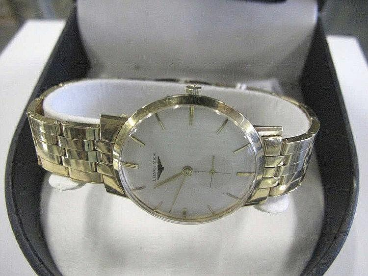 Longines 14k gold man's wristwatch working